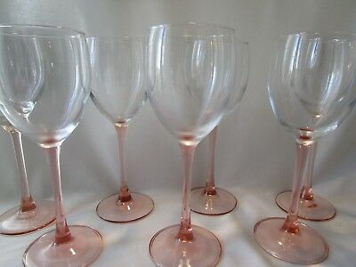 8 Rose by CRISTAL D'ARQUES-DURAND PINK Stem Wine Glasses / Goblets 7 3/4""