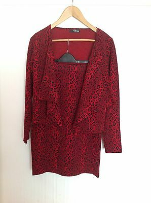 New Jane Norman Leopard Print Red Cardigan and Skirt