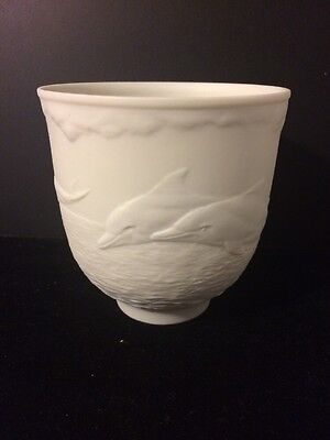 LLADRO White Bisque Porcelain Votive Cup- Dolphins At Play