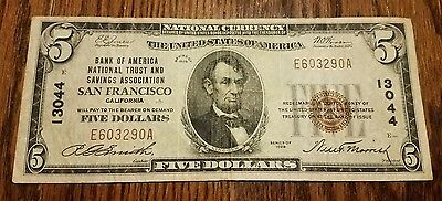 1929 $5 Bank of America National Trust & Savings Association San Fran Char#13044