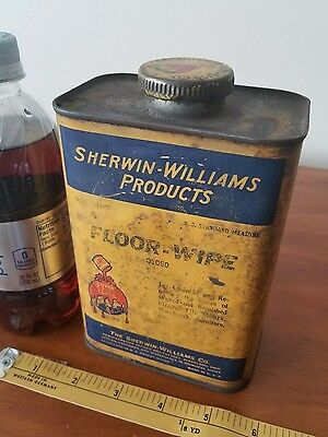 Empty 1qt Sherwin Williams floor wipe metal  can petroleum gas collectibl auto