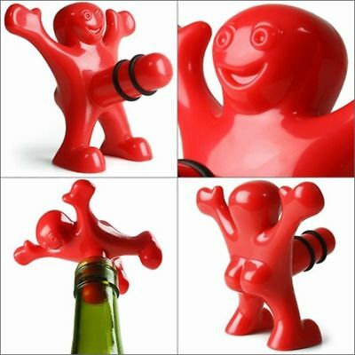 Happy Man Bottle Opener Wine Stopper Corkscrew Red Novelty Funny Cork Gift Men