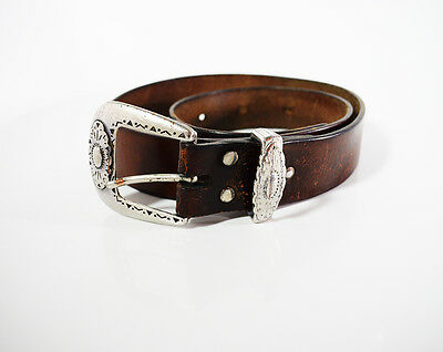Vintage Western Leather Belt Brown
