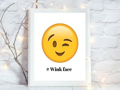 wink face emoji face a4 glossy poster Print  picture gift unframed 2