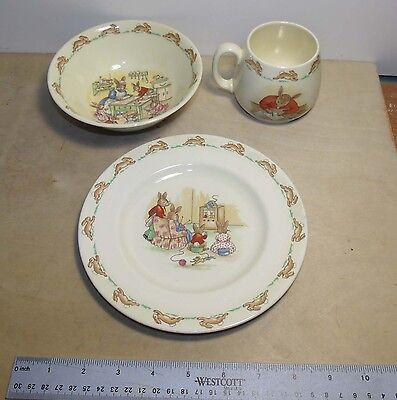 3 Pieces of Bunnykins Royal Doulton China Set Cup Plate Bowl