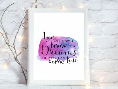 dreams come true watercolour a4 glossy poster Print  picture gift unframed quote