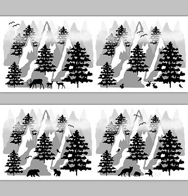 Woodland Animal Mountain Nursery Border Decal Wall Art Stickers Rustic Deer Fox