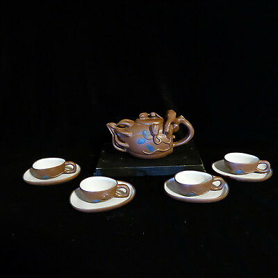 Vintage Chinese Yixing Gourd Shape Clay Teapot & 4 Teacups With Plates