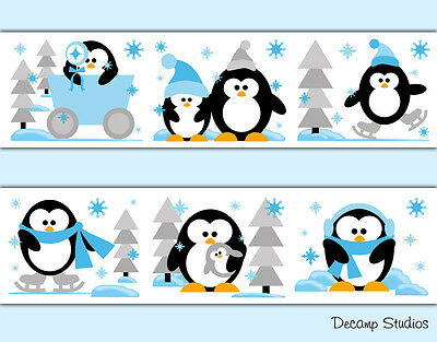 Penguin Wallpaper Border Wall Art Decal Baby Boy Nursery Arctic Animal Stickers