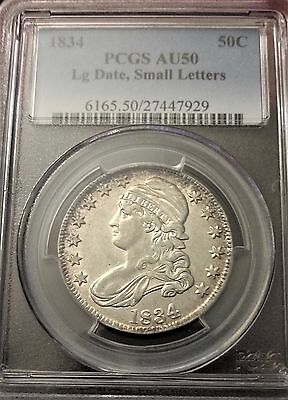 "1834 Capped Bust Silver Half ""large Date, Small Letters"" Pcgs Au-50"