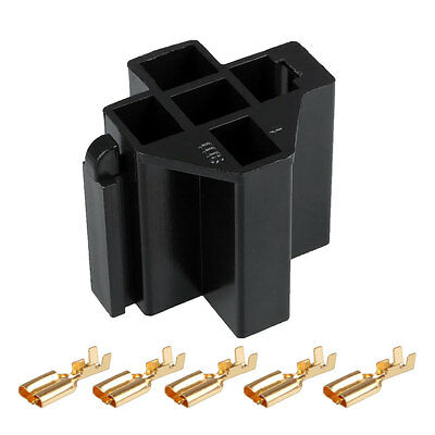 Car Auto Truck 5 Pin Relay Socket Relay Holder with 5Pcs 6.3mm Copper Terminal