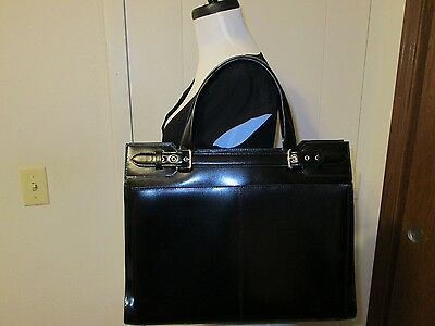 Franklin Covey Black Leather Briefcase Business Travel Bag Organizer w/Strap
