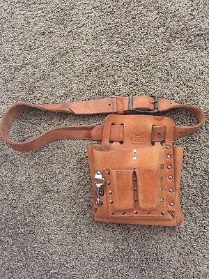 VTG KLEIN Tools 5165 Leather Tool Bag Pouch Case W Strap Lineman Electrician EUC