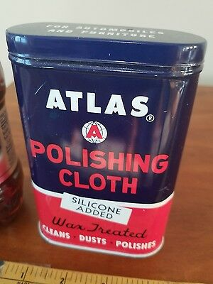 ATLAS POLISHING CLOTH  grease metal oil can petroleum gas collectibl auto