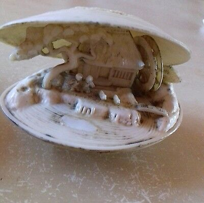 Antique caved clam shell Water Scene