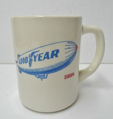 GOODYEAR Blimp Europa Coffee Cup Mug Vintage Tire Advertising, Mint