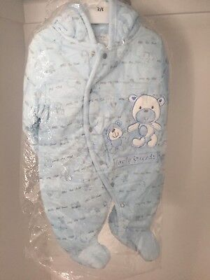 BABY 3-6 M Blue Winter Hoodie Suit 100% Cotton