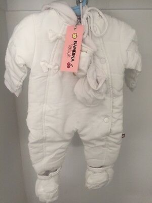 BABY 3-6 M White Winter Hoodie Suit 100% Cotton
