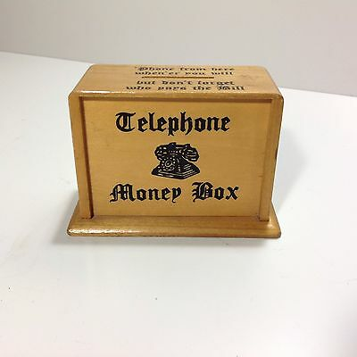 Vintage Wooden Telephone Money Box