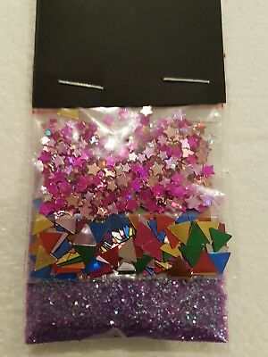 Star and Triangle sequins with purple glitter