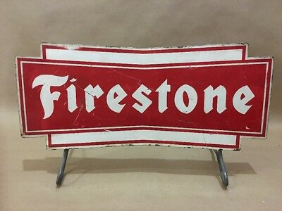 Vintage FIRESTONE Tire Stand Sign Gas Oil Station Car Truck Display