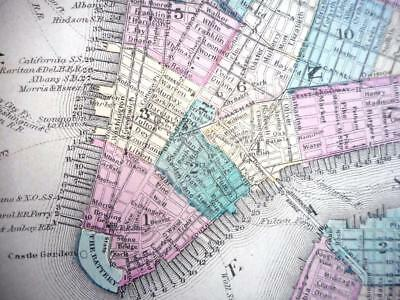 Large Double-Sheet Original 1878 Color New York City Map