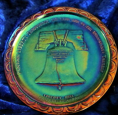 Carnival Glass - Usa - Liberty Bell Display Plate-Magnificent Opal Shine!
