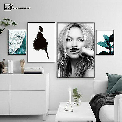 Kate Moss Canvas Poster Nordic Style Girl Leaves Wall Art Prints Home Decoration