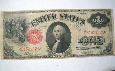 1917 $1 One Dollar Bill R61521224A Red Seal United States Large Currency Note