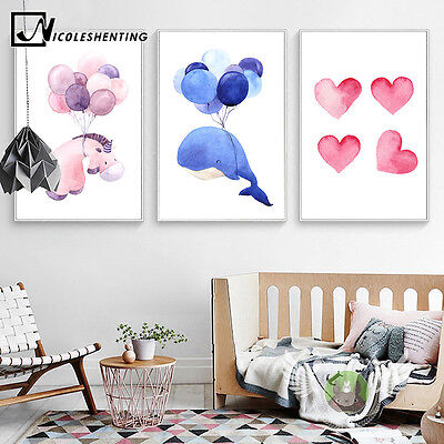Watercolor Whale Elephant Canvas Art Poster Nursery Picure Baby Room Decoration