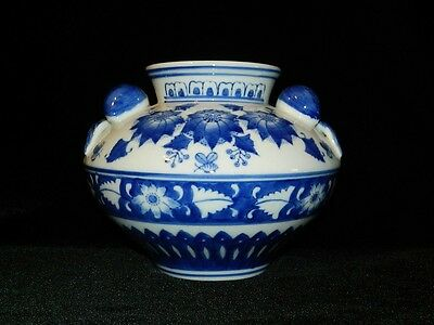 "Vintage Chinese Porcelain Bowl Vase Plum Fruit Cobalt Blue & White 8"" Tall 25"""