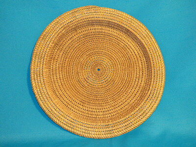 """VINTAGE AFRICAN BASKET WOVEN FLAT ROUND w/ BEADS 15"""" ACROSS 1"""" DP 3 COLOR BEADS"""