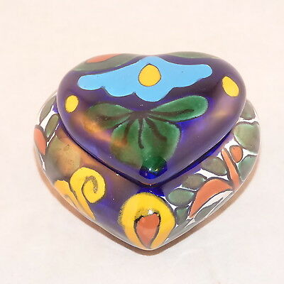 "Mexican Talavera Ceramic Heart Trinket Box Floral 3 1/2"" 3 1/2"" X 2"" Blues"