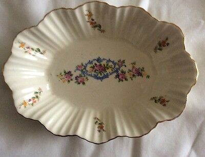 Pretty Langton -England -Pottery Floral Dish -gold rimmed.