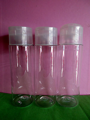 8 Clear PET plastic cosmetic bottles 250ml False Wall Disc Caps FREE POST