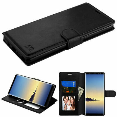 For Samsung GALAXY S8 / S8 Plus Leather Flip Fold Wallet Case Cover Stand BLACK
