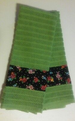 Mary Engelbreit Flowers on Black Fabric Handmade Set 2 Kitchen Dish Towels New
