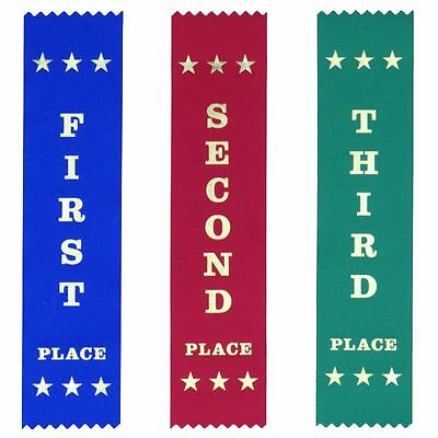 25 Each First Second Third Place Ribbons 200 x 50 mm - 10% discount!