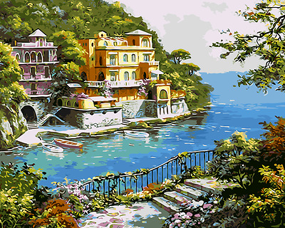 Painting By Numbers Kit Canvas 50*40cm 8164 Sea View Villa Au Stocks S7