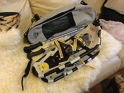 ATLAS SNOW SHOES 55 cm LONG WITH POLES AND BAG WORN ONCE LIKE NEW SERIES 7