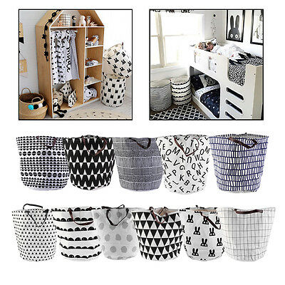 Dirty Clothing Clothes Laundry Basket Can Stand Canvas Storage Bag Organizer AW