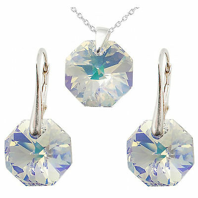 FASHIONS FOREVER® 925 Sterling Silver Octagon Set, made with SWAROVSKI® Crystals
