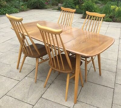 Ercol Vintage Grand Windsor Table (with Covers) And Four Goldsmith chairs