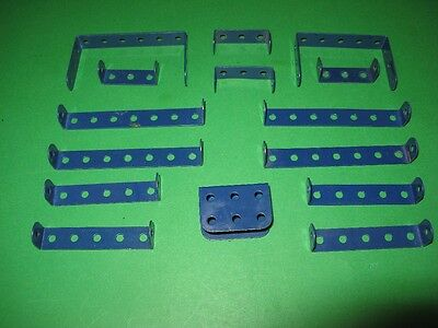 Meccano 1978/9 Dark Blue Double Angle Strips x 14.