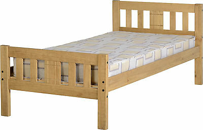 RIO SINGLE 3ft SOLID DISTRESSED WAX PINE WOOD BED FRAME