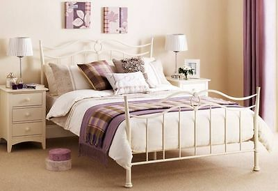Katrina Metal Bed Frame In Cream Kingsize 150cm 5ft