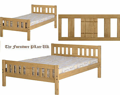 RIO 3FT Single OR 4ft 6 Double DISTRESSED WAXED PINE Bed Frame