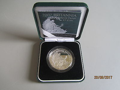 2007 BRITANNIA SILVER PROOF £2 TWO POUND COIN 1 OZ OUNCE ROYAL MINT BOX and COA