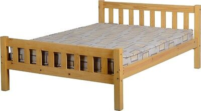 CARLOW DOUBLE 4ft6 SOLID ANTIQUE PINE WOOD BED FRAME
