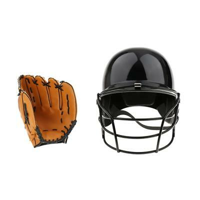 Pro Baseball Batting Helmet with Mask + Left Hand Baseball Glove 10.5inch
